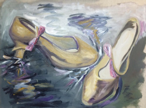 """""""Tap Shoe Spark"""" by Keith Emerling Oil on Linen 18"""" h x 24"""" w Value $475 Starting bid $240 Buy NOW $475 Bid in increments of $ 10"""