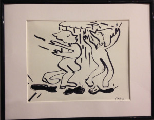 """They Dance For Rain"" by Joanne Spies Ink on paper matted/framed Approx 12"" h x 14"" w Value $100 Starting Bid $ 50 Buy NOW price $ 100 Bid in increments of $10"
