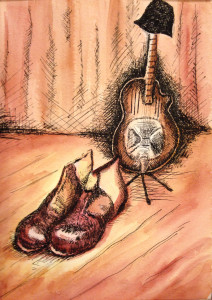"""""""Tap & Blues 2"""" by Robin O'Herin Watercolor, pen & ink - Matted 22""""h x 17""""w Value $90 Starting Bid $45 Buy Now $90 Bid in increments of $10"""