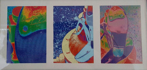 """Tap Water Triptych"" by Vikki True Altered Photographic Triptych, matted/framed 7"" h x 13"" w Value $30 starting Bid $15 Buy Now $30 Bid in increments of $ 10"